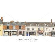 Watercolour painting of Aylsham Market Place (West) by Derek Blois