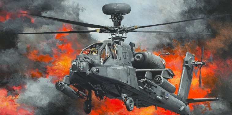 Print / original commission Acrylic painting of AH Apache by Derek Blois