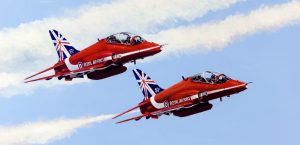 Print / original commission acrylic painting of two Red Arrows in flight