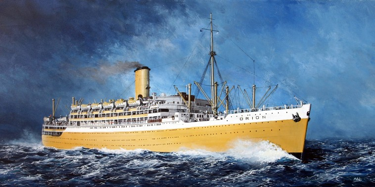 Print / original commission acrylic painting of RMS Orion by Derek Blois