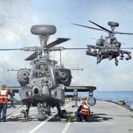 Print / original commission acrylic painting of AH Apaches on board Carrier by Derek Blois