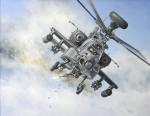 Print / original commission acrylic painting of AH-64 Apache by Derek Blois