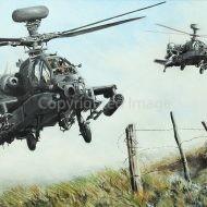 Print / acrylic painting of AH-64 Apaches in low flight by Derek Blois