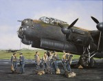 Print / original commission acrylic painting of Avro Lancaster and crew by Derek Blois