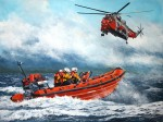 Print / original commission acrylic painting of Helensburgh Lifeboat with Royal Navy Sea King by Derek Blois