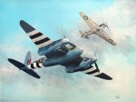 Print / original acrylic painting commission of Mosquito and Hurricane by Derek Blois