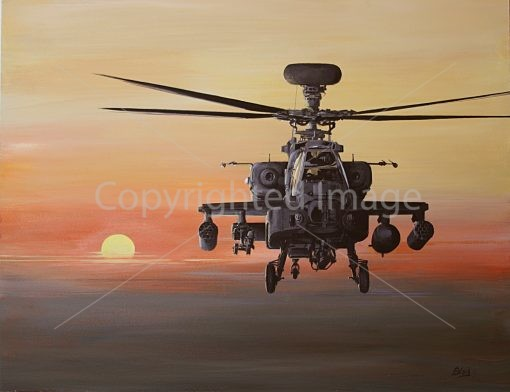 Print / original commission acrylic painting of Apache returning back to base by Derek Blois