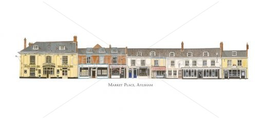 Watercolour painting of Aylsham Market Place (West) by Derek Blois