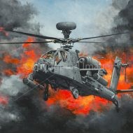 Print / original commission Acrylic painting of AH Apache by Derek Blois
