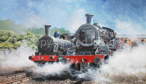 Print / original commission acrylic painting of two steam trains by Derek Blois