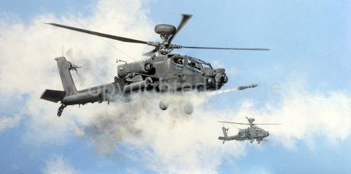Print / original commission acrylic painting of two AH Apache helicopters by Derek Blois