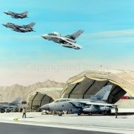 Print / original commission acrylic painting of Tornados Afghanistan by Derek Blois