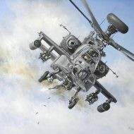 Print / original commission acrylic painting of AH-64 Apache by Derek Blois