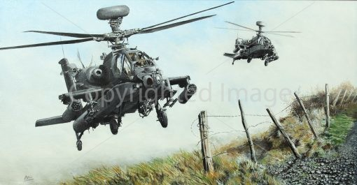 Print / acrylic painting of AH-64 Apaches in low flight by Derek Blois