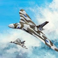 Print / original commission acrylic painting of two Vulcans in flight by Derek Blois