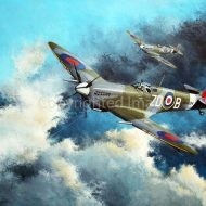 Print / original commission acrylic painting of Spitfires in flight by Derek Blois