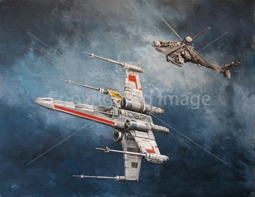 Acrylic painting of X-Wing and Apache helicopter by Derek Blois