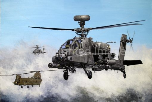 Print / original acrylics painting commission AH Apaches Chinook by Derek Blois